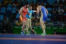 Wrestling at the 2016 Summer Olympics, Makhov vs Zasyeyev.jpg