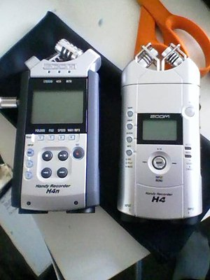 Zoom H4 Handy Recorder -  The Zoom H4 on the right and the newer Zoom H4n on the left