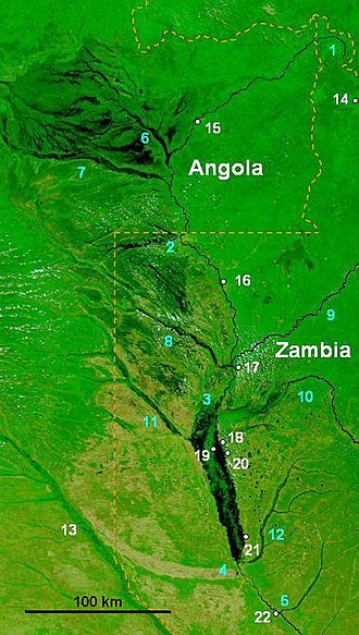 Zambezi - NASA false-colour image of the upper Zambezi and Barotse (Balozi) floodplain during an extreme flood in 2003.