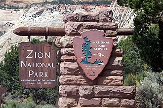 National Register of Historic Places listings in Kane County, Utah - Image: Zion National Park east entrance sign 20070724