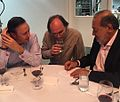 """Cool Science"" Dinner- Carlos Slim showing Peter Woit & me how his signature forms an integral (27119411145).jpg"