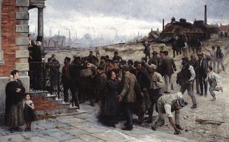 Strike action - Agitated workers face the factory owner in The Strike, painted by Robert Koehler in 1886