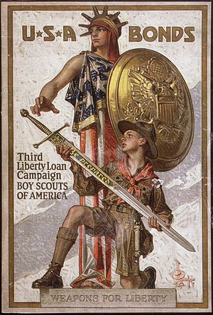 United States home front during World War I - Weapons for Liberty – U.S.A. Bonds by J. C. Leyendecker, 1918
