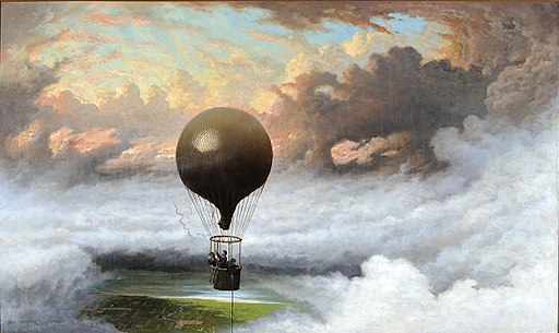 'A Balloon in Mid-Air' by Jules Tavernier, 1875