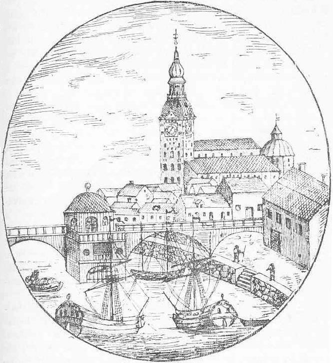 Åbo domkyrka och bron över Aura å under den svenska tiden.