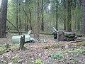 Москвич как он туда попал загадка, может с вертолета опустили в лес...jpg