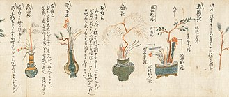 Ikebana - Illustration from the Kaō irai no Kadensho, believed to be the oldest extant manuscript of ikebana teaching, dating from a time shortly after that of Ikenobō Senkei. It shows various arranging styles of tatebana (ogibana) wide-mouth (right) and upright styles.