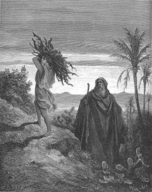 Rappresentazione di Abramo e Isacco mentre si avviano sul monte Moriah per il sacrifico