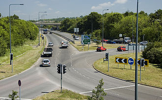 A4174 road - Signalised roundabout with the A4175 at Siston Common