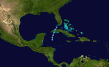 A map showing the track of a tropical depression; it begins in the western Caribbean Sea, crosses western Cuba, and ends near the Florida Keys