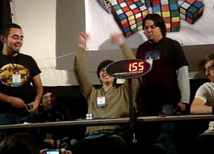 Pocket Cube - Vicente Albíter of Mexico solving it in 1.55 seconds at the Mexican Open 2008