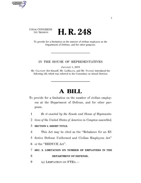 File:116th United States Congress H. R. 0000248 (1st session) - REDUCE Act.pdf