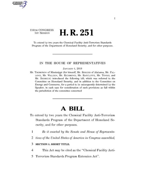 File:116th United States Congress H. R. 0000251 (1st session) - Chemical Facility Anti-Terrorism Standards Program Extension Act A - Introduced in House.pdf