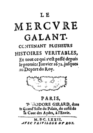 Mercure de France - First edition of the Mercure Galant, 1672