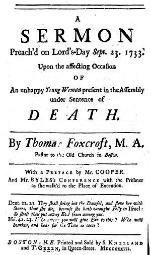 Rebekah Chamblit - Foxcroft's sermon about Chamblit, First Church, Boston, 1733