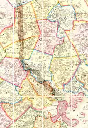 Arlington, Massachusetts - 1852 Map of Boston area showing Arlington, then called West Cambridge. (The former Middlesex Canal is highlighted.)