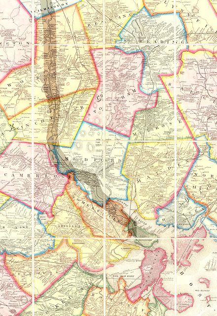 "1852 Map of Boston area showing Cambridge and regional rail lines and highlighting the course of the Middlesex Canal. Cambridge is toward the bottom of the map and outlined in yellow, and should not be confused with the pink-outlined and partially cropped ""West Cambridge"", now Arlington."