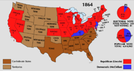 Map of the U.S. showing Lincoln winning all the Union states except for Kentucky, New Jersey, and Delaware. The Southern states are not included.