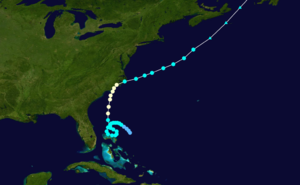 1908 Atlantic hurricane season - Image: 1908 Atlantic hurricane 3 track