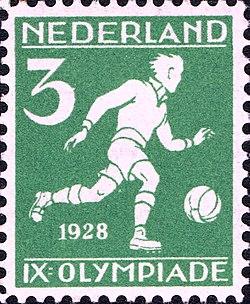 1928 Summer Olympics stamp of the Netherlands football.jpg