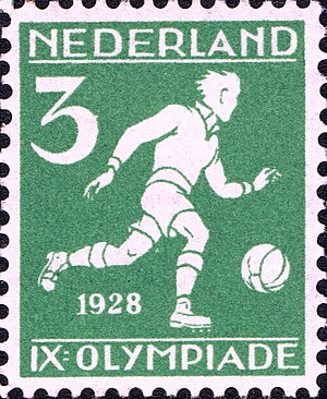Football at the 1928 Summer Olympics - Image: 1928 Summer Olympics stamp of the Netherlands football