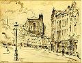 1943 rue de la Madeleine avec au fonds la tour de la Bibliothèque Royale, dessin par Léon van Dievoet, 18 juin 1943.JPG