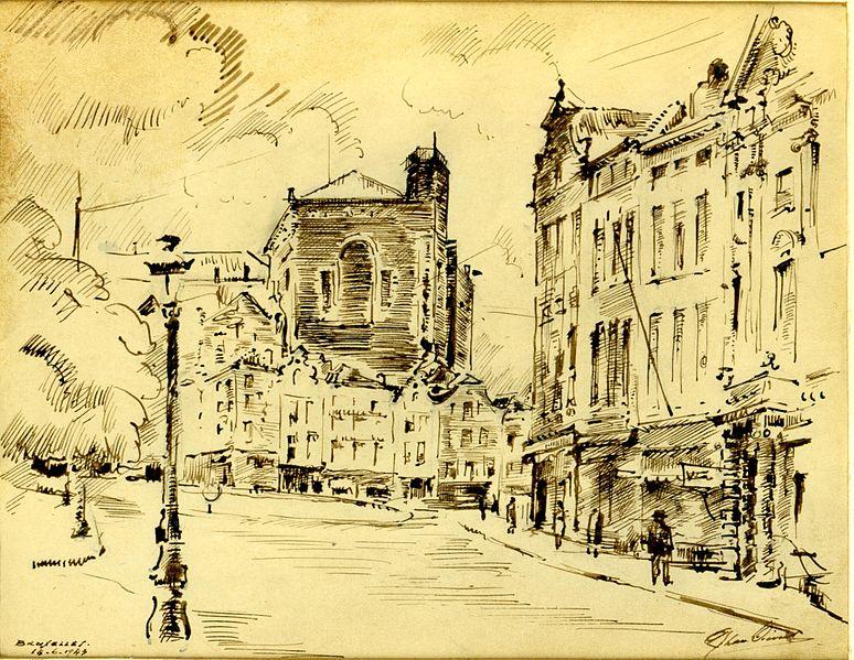 File:1943 rue de la Madeleine avec au fonds la tour de la Bibliothèque Royale, dessin par Léon van Dievoet, 18 juin 1943.JPG