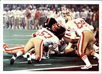 1981–82 NFL playoffs - The 49ers playing against the Bengals in Super Bowl XVI