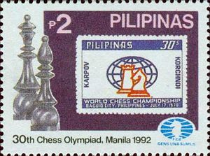 30th Chess Olympiad - The 30th Chess Olympiad on a 1992 stamp of the Philippines, which also commemorates the World Chess Championship 1978 held in the country.