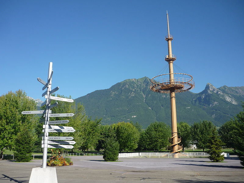 Pylon of the 1992 Winter Olympics with the roadsign of the others winter olympics cities, Albertville, Savoie, France