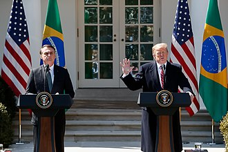 "Presidency of Donald Trump - During a joint news conference, Trump said he was ""very proud"" to hear Brazilian President Jair Bolsonaro use the term ""fake news""."