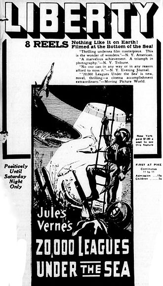 20,000 Leagues Under the Sea (1916 film) - Newspaper advertisement for the film.
