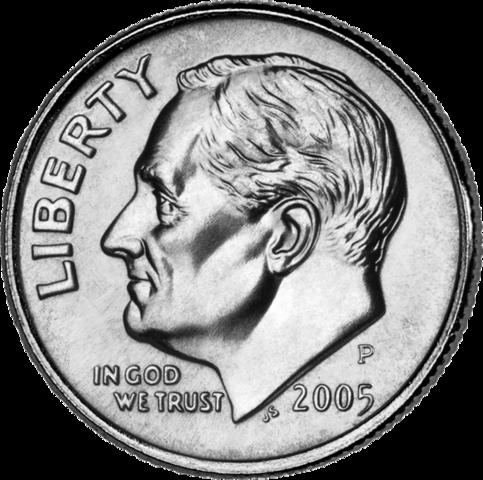 Портрет Рузвельта на американском дайме