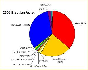 United Kingdom general election, 2005 - The percentage of votes gained