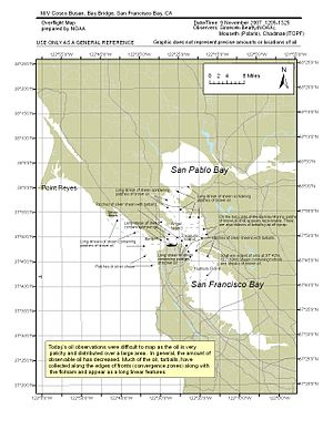Cosco Busan oil spill - NOAA Overflight Map 2007-11-09 1205–1325