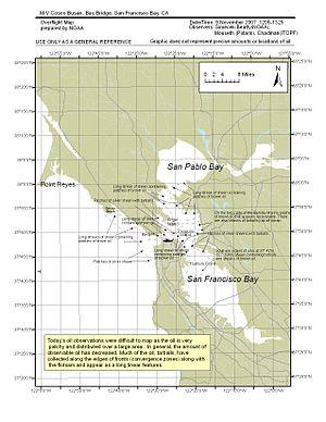 Cosco Busan oil spill - NOAA Overflight Map 2007-11-09 1205–1325
