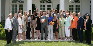 Tennessee Lady Volunteers basketball - The players, coaches, and other staff of the 2007–2008 Lady Volunteers, winners of the 2008 national championship, are honored at the White House by President George W. Bush on June 24, 2008.