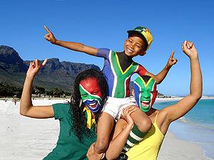 Fans celebrating the upcoming 2010 FIFA World ...