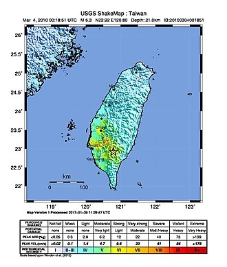 2010 Kaohsiung earthquake - Image: 2010 Kaohsiung earthquake intensity USGS