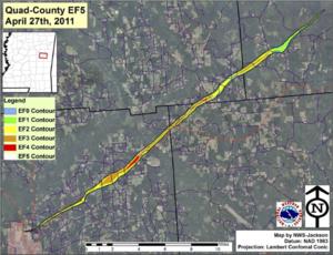 2011 Philadelphia, Mississippi tornado - Damage swath of the tornado across eastern Mississippi