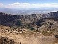 2013-09-16 12 51 49 View of Island Lake from the highest summit (southern summit) on Thomas Peak, Nevada.jpg