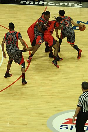 Screen (sports) - Image: 20130403 MCDAAG Jarell Martin sets pick on Anthony Barber, for Nigel Williams Goss (1)