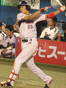 20130929 Tetsuto Yamada, infielder of the Tokyo Yakult Swallows, at Meiji Jingu Stadium.JPG