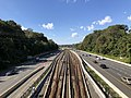 2018-10-23 13 28 00 View west along Interstate 66 and the Orange and Silver lines of the Washington Metro from the overpass for Great Falls Street (Virginia State Route 694) in McLean, Fairfax County, Virginia.jpg