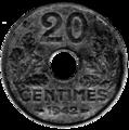 20 centimes état français revers.png