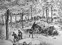 A pen and ink sketch of a line of Civil War soldiers fighting amidst trees and large boulders. In the foreground, two soldiers are carrying a wounded soldier away from the fighting.