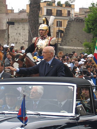 Festa della Repubblica - President Emeritus of the Italian Republic Giorgio Napolitano on the presidential car Lancia Flaminia, 2006 parade.