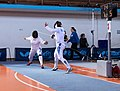 2nd Leonidas Pirgos Fencing Tournament. The fencers Nikoletta Chatzisarantou and Irini Mavrikiou.jpg