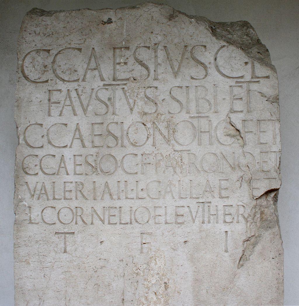 4763 - Brescia - S. Giulia - Cippo di Gaius Caesius Faustus (sec. I) - Foto Giovanni Dall'Orto, 25 Giu 2011.jpg
