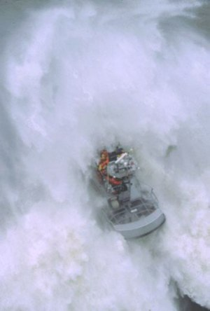 Coast Guard Station Cape Disappointment - A 47-foot motor lifeboat in heavy surf